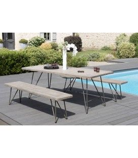 Ensemble table + 2 bancs en bois massif design BURSA