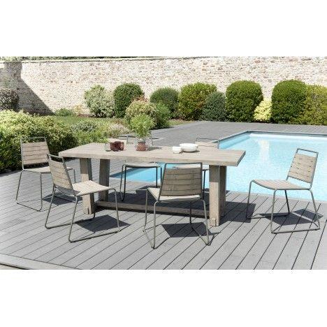 Table bois massif extérieur avec 6 chaises structure métal