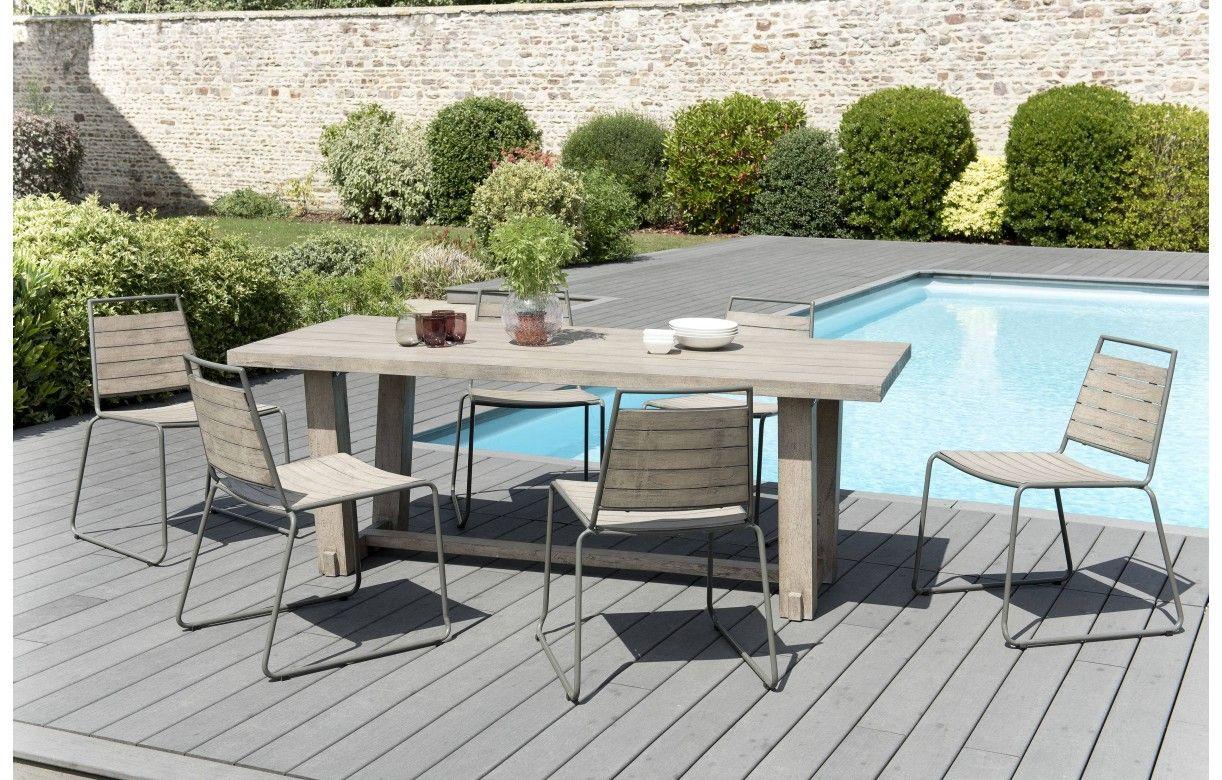 Table Bois Metal Exterieur ensemble table originale + 6 chaises bois massif bursa