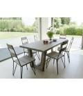 Table et chaises design moderne extérieur en métal et bois massif
