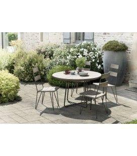 Ensemble table ronde en bois et métal avec 4 chaises extérieur