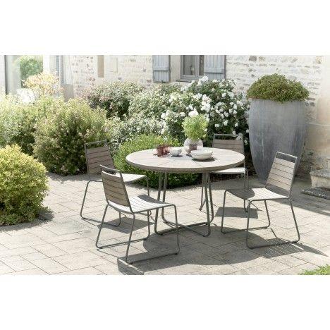 Table ronde en bois massif avec 4 chaises structure métal extérieur