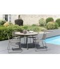 Ensemble table ronde en bois et métal + chaises extérieur