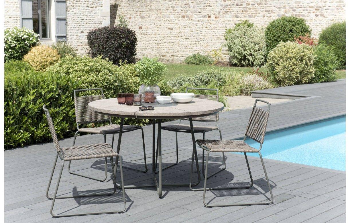 Table Bois Metal Exterieur table ronde originale et ses 4 chaises en bois bursa