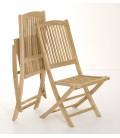 Chaises d'extérieur en bois massif clair - Lot de 2