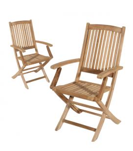 Lot de 2 fauteuils en bois massif clair extérieur PEREIRA