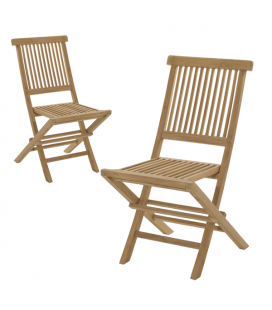Lot de 2 chaises extérieur design en bois massif PEREIRA