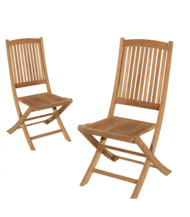 Lot de 2 chaises de jardin en bois massif clair PEREIRA