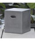 Tabouret pouf cube de jardin gris effet béton