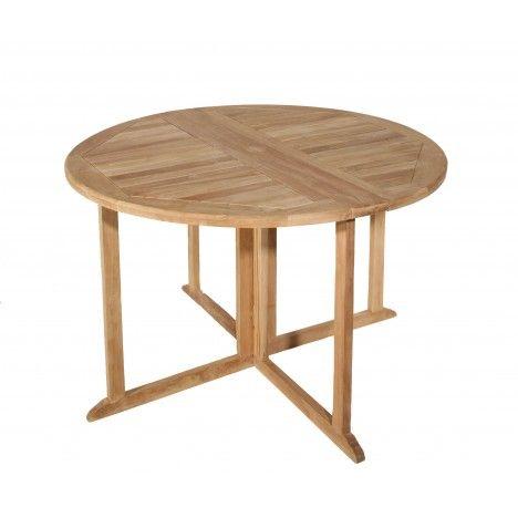 Table ronde pliable bois clair teck massif 120cm