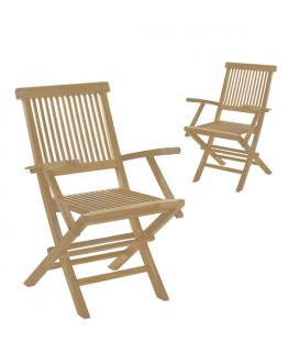 Lot de 2 fauteuils en bois massif repliables PEREIRA