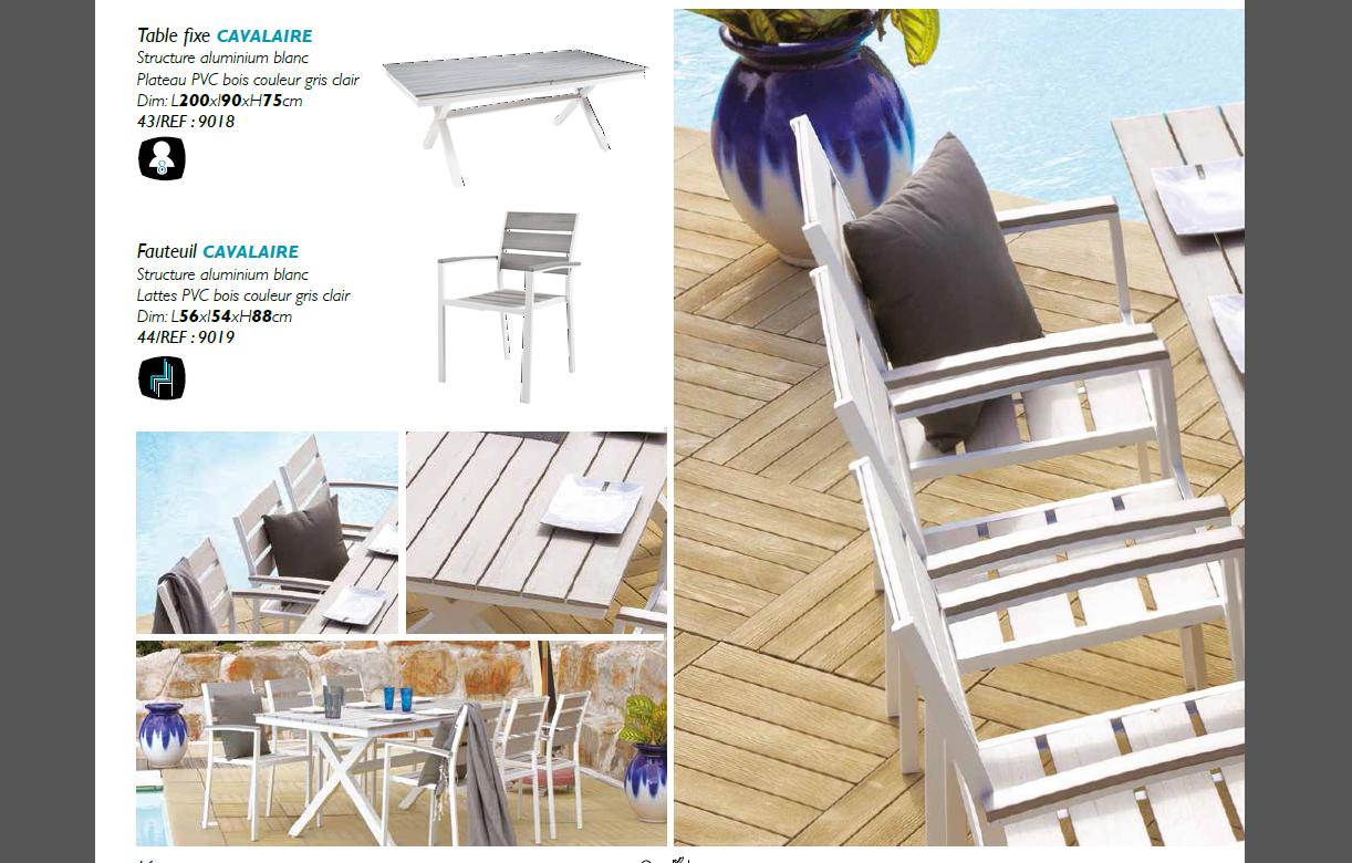 Ensemble de jardin table + 6 chaises en métal MANISA ...