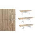 Kit - Table extérieur et chaises en aluminium couleur bois massif