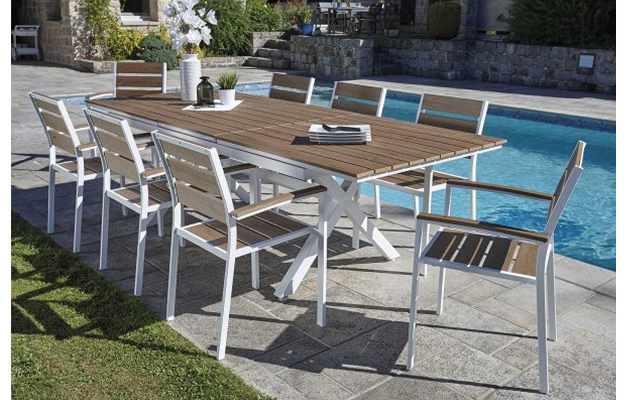 Table Bois Metal Exterieur table extensible d'extérieur + 8 chaises empilables