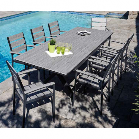 Kit - Table à rallonge et 8 fauteuils en métal couleur bois
