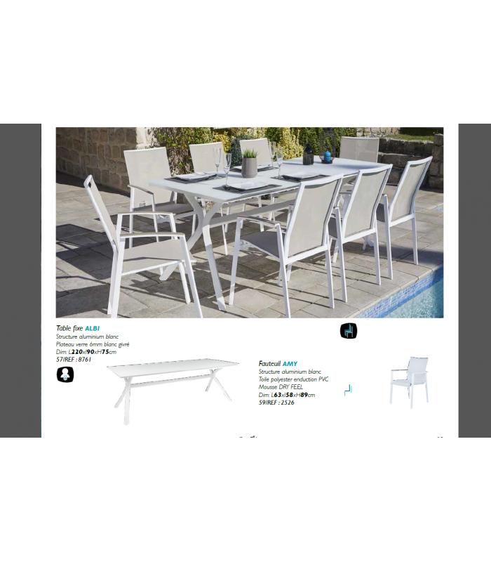 Table de jardin blanche + 8 fauteuils rembourrés PUNO