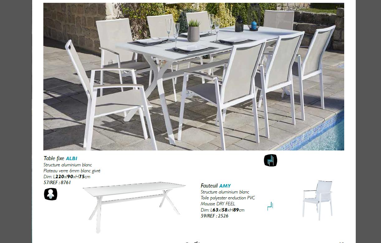 Table de jardin blanche + 8 fauteuils rembourrés PUNO ...