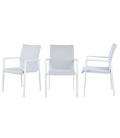 Ensemble extérieur table et fauteuils blancs PUNO