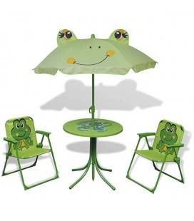 Table + parasol + chaises pliante extérieur style grenouille enfant
