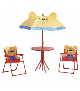 Table et 2 chaises enfant + Parasol Ourson Playa