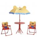 Table pour enfant style ourson avec parasol et chaises pliantes