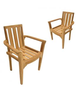 Lot de 2 fauteuils en bois massif extérieur PEREIRA