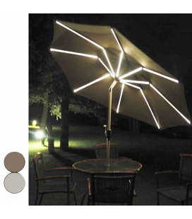 Parasol inclinable 8 baleines lumineuses et port USB