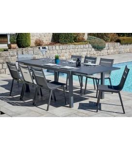 Lot de 8 chaises de jardin + table extensible aluminium gris foncé
