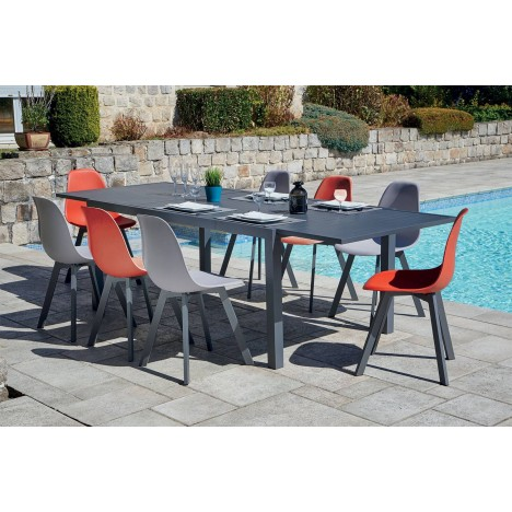 Lot de 8 chaises d'extérieur + grande table en aluminium