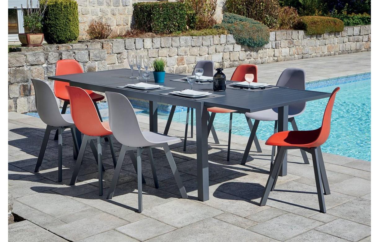 Ordinaire Lot De 8 Chaises Du0027extérieur + Grande Table En Aluminium ...