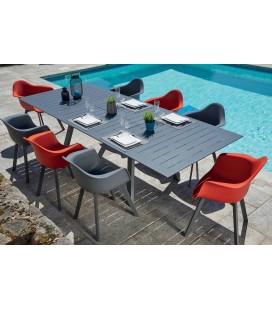 Table de jardin en aluminium et ses 8 chaises rouge et grises