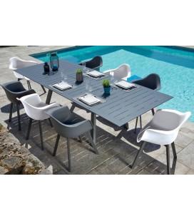 Ensemble de jardin table + 8 chaises blanc et taupe MARTA