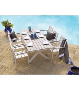Ensemble de jardin table + 6 chaises en métal MANISA