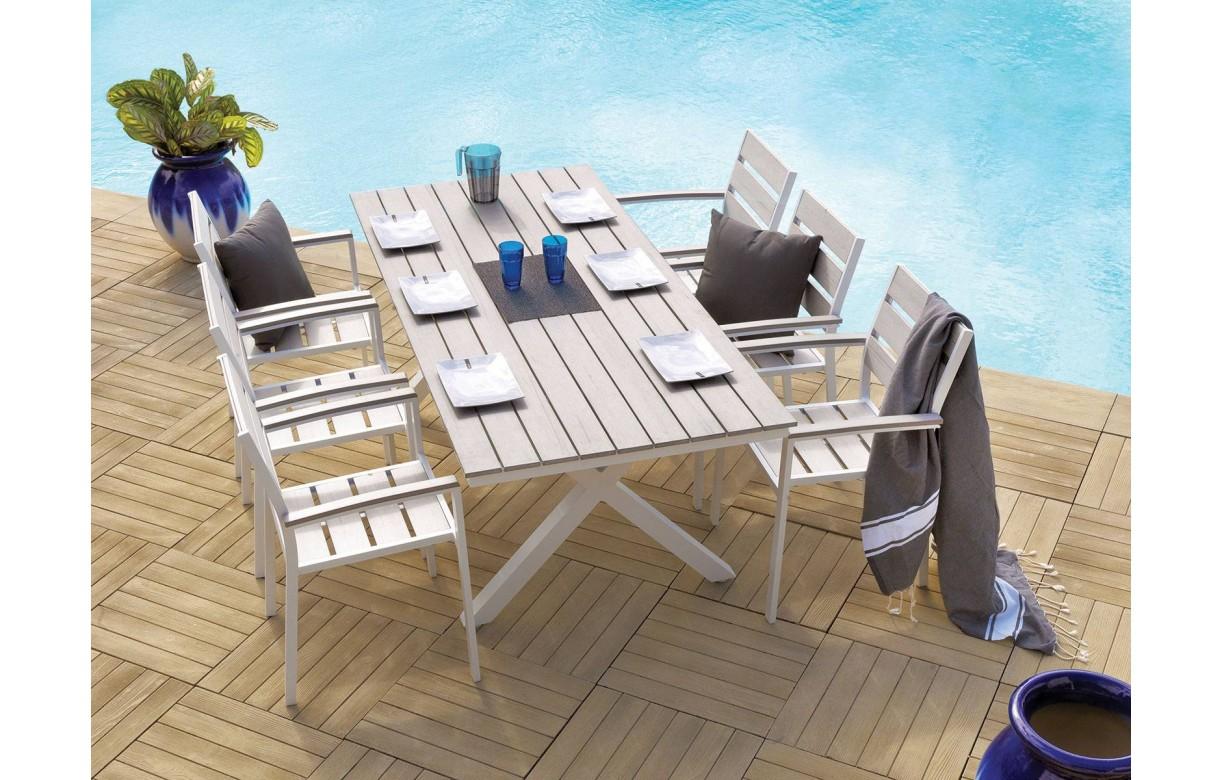 Ensemble de jardin table + 6 chaises en métal MANISA - Decome Store
