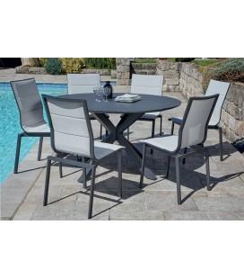 Table ronde extérieur aluminium et 6 chaises rembourrées TUNA