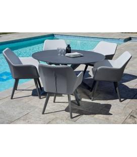 Table ronde en aluminium + 5 fauteuils extérieur TUNA