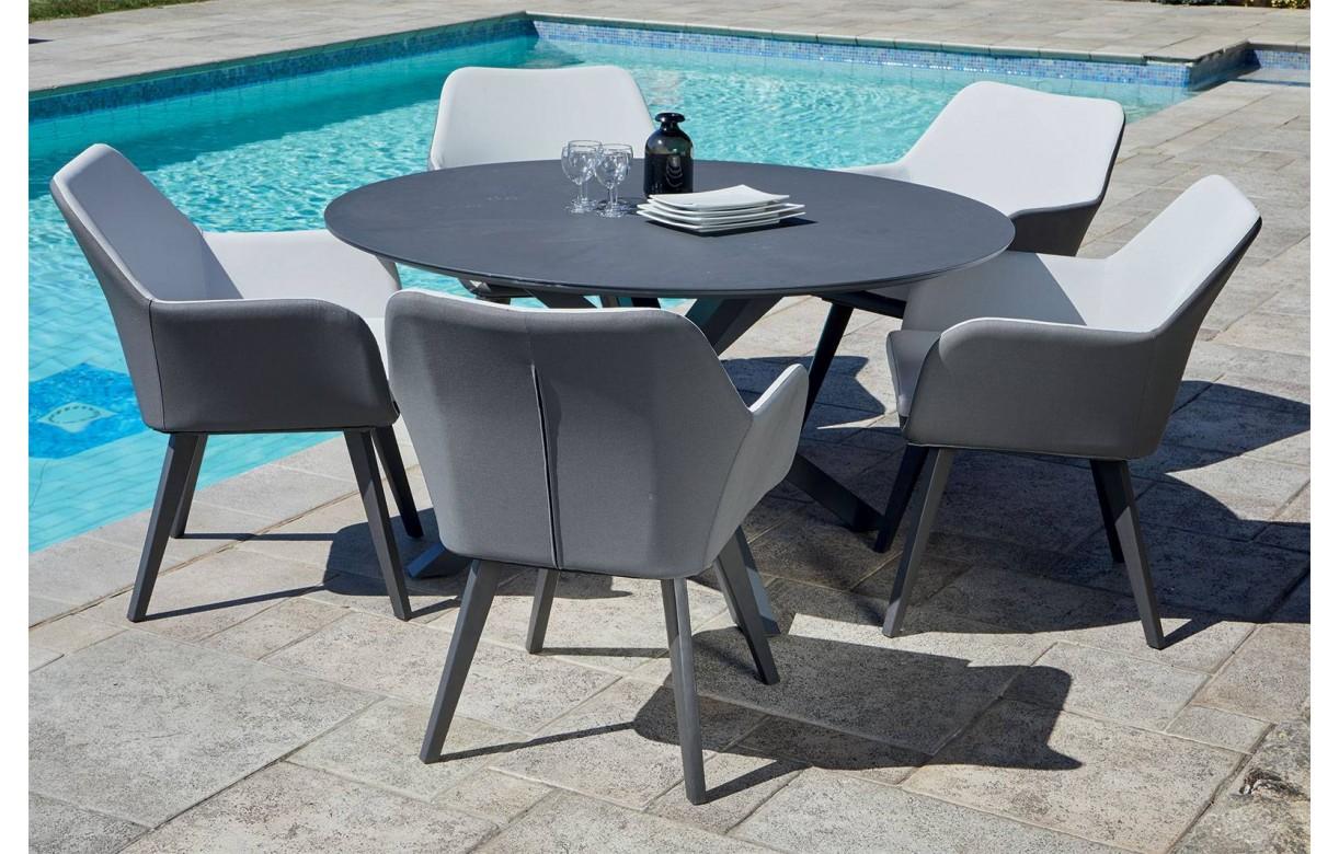 Table ronde en aluminium + 5 fauteuils extérieur TUNA - Decome Store