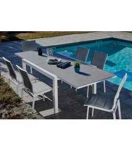 Table extensible extérieur + 6 chaises empilables ARMENIA