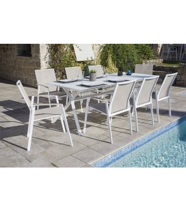 Ozalide, Tables et chaises de jardin, Coloris Blanc