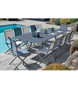 Ensemble de jardin avec table à rallonge + 12 chaises pliantes JADE