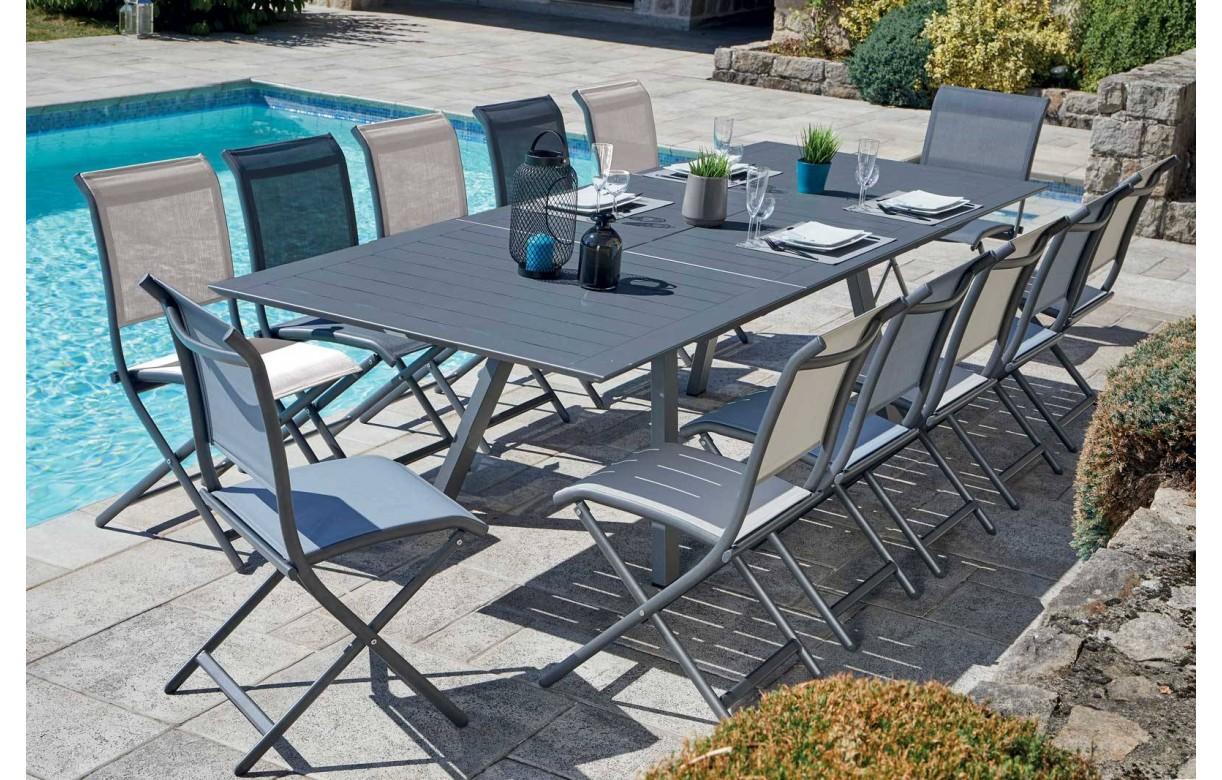 Ensemble de jardin avec table à rallonge + 12 chaises ...