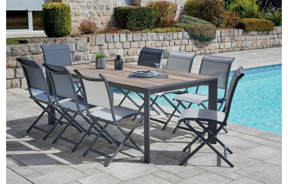 Salon De Jardin Chloé ensemble extérieur de repas avec table et 8 chaises pliantes
