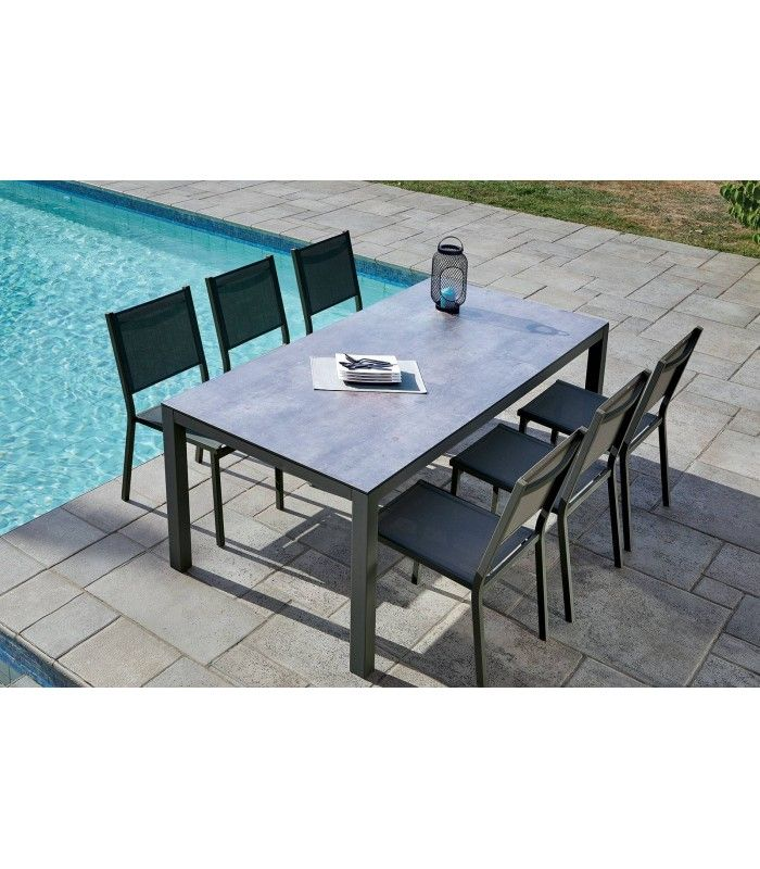 Table de jardin + 6 chaises empilables aluminium LÉNA