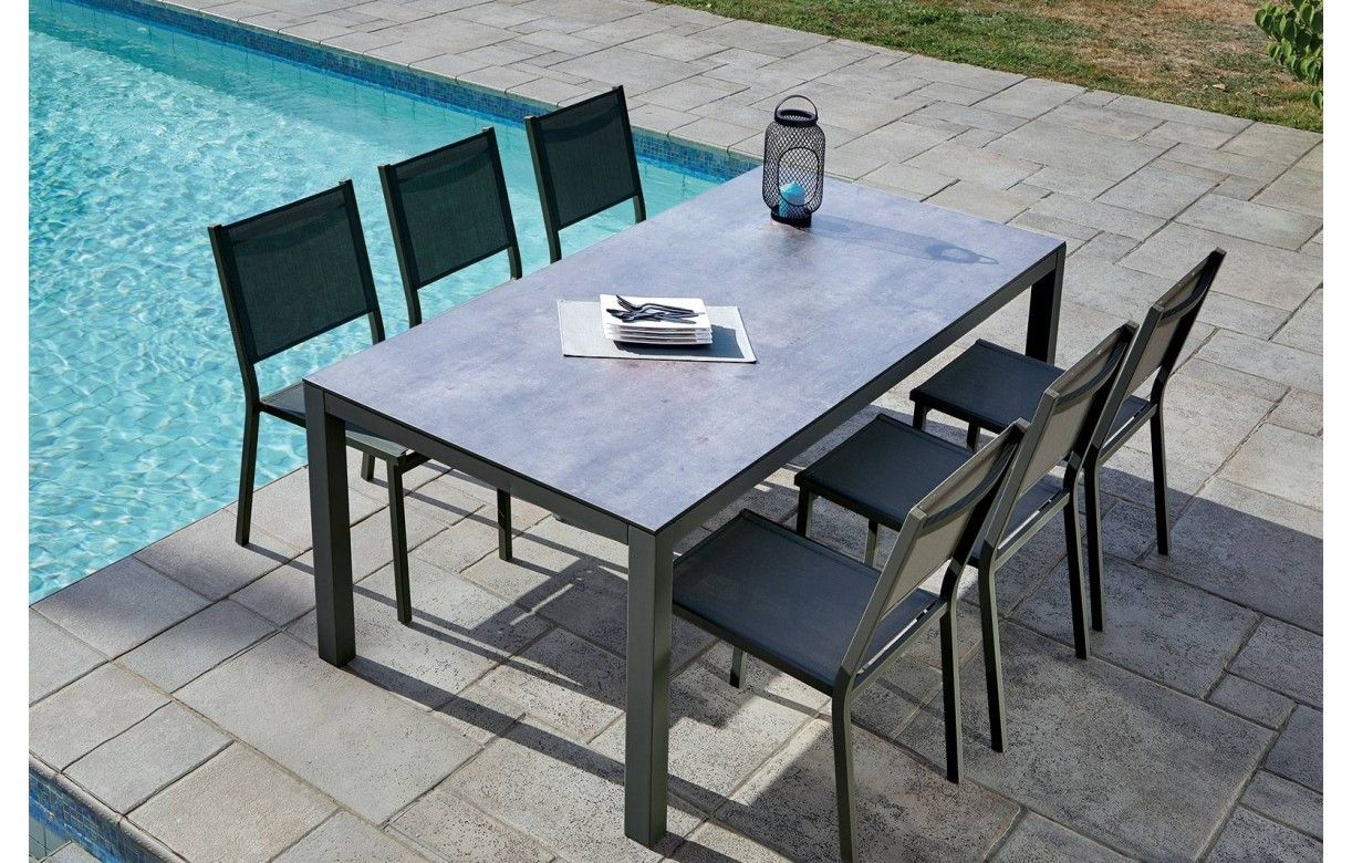 Table de jardin + 6 chaises empilables aluminium LÉNA ...