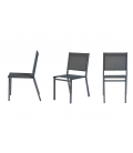 Table et chaises empilables de jardin aluminium chene clair