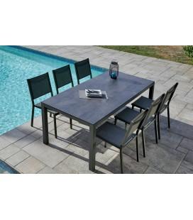 Table de jardin + 6 chaises empilables ardoise LÉNA