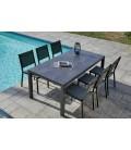 Table et chaises empilables de jardin aluminium ardoise
