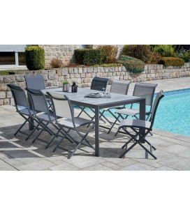 Ensemble jardin table 200x100 et 8 chaises pliantes LINA