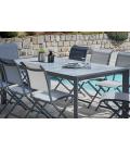 Table extérieur 200x100 cm avec 8 chaises pliantes aluminium