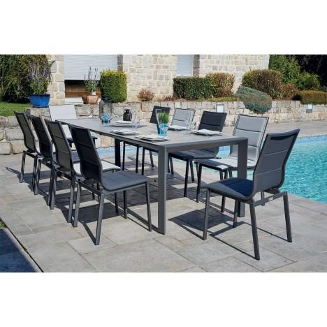 Ensemble jardin - Table grise à rallonge et 10 chaises LILY